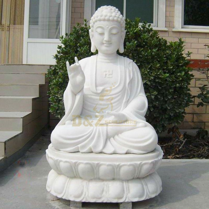 White Marble Stone Decorations Antique Buddha Statues