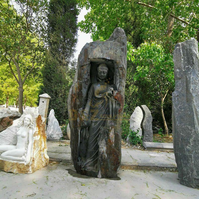 Polished Stone Garden Product Type Statue Black Marble Buddha