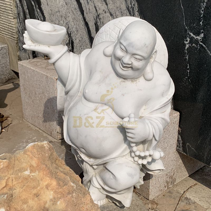 Hand Carved White Stone Buddha Marble Statue