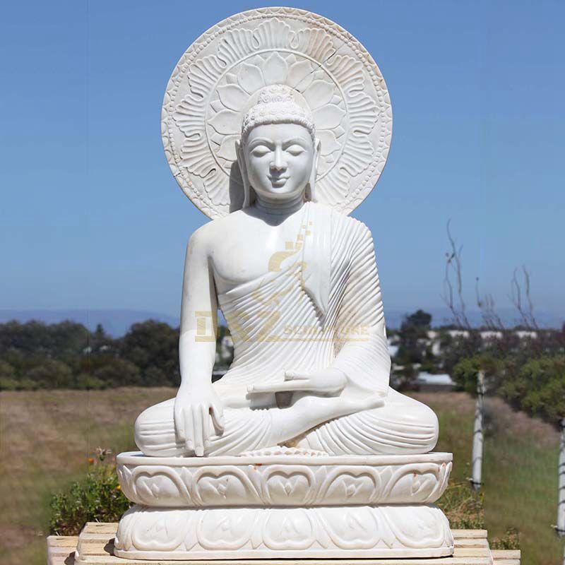 Customized Landscape Life Size Marble White Stone Buddha Statue Sculpture