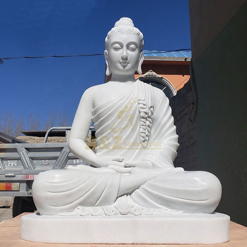 Indian Buddhist Sculpture Life Size White Marble Stone Buddha Seated On Lotus Statue