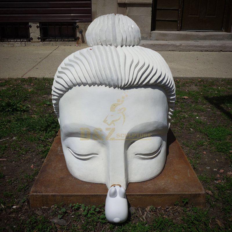 Custom Garden Decorative White Buddha Head Sculpture