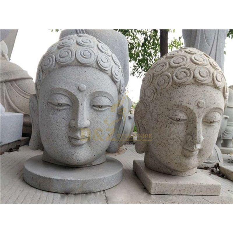 Marble Religious Buddha Head Garden Decoration Statue