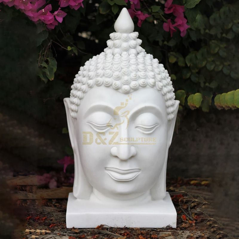 Stone Antique Dark Grey Marble Big Buddha Statue Head
