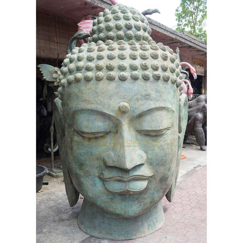 Antique Buddha Head Bronze Buddha Statue Fengshui Religious Statues