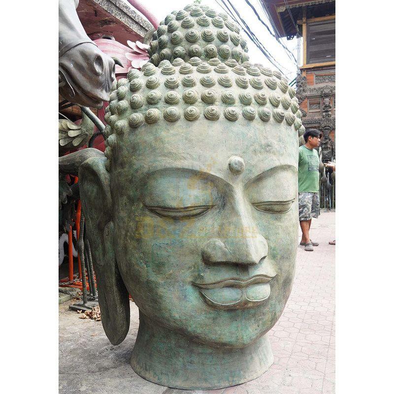 Buddha Head Ornament Made From Bronze Garden Art Decoration