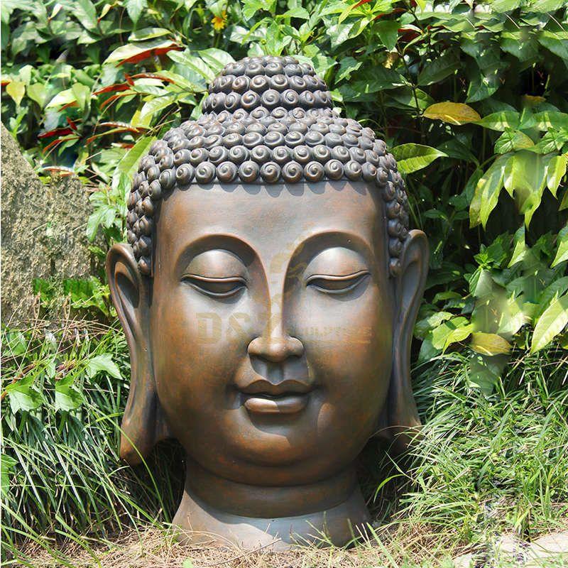 Handmade Bronze Outdoor Buddha Head Statue Garden Decoration