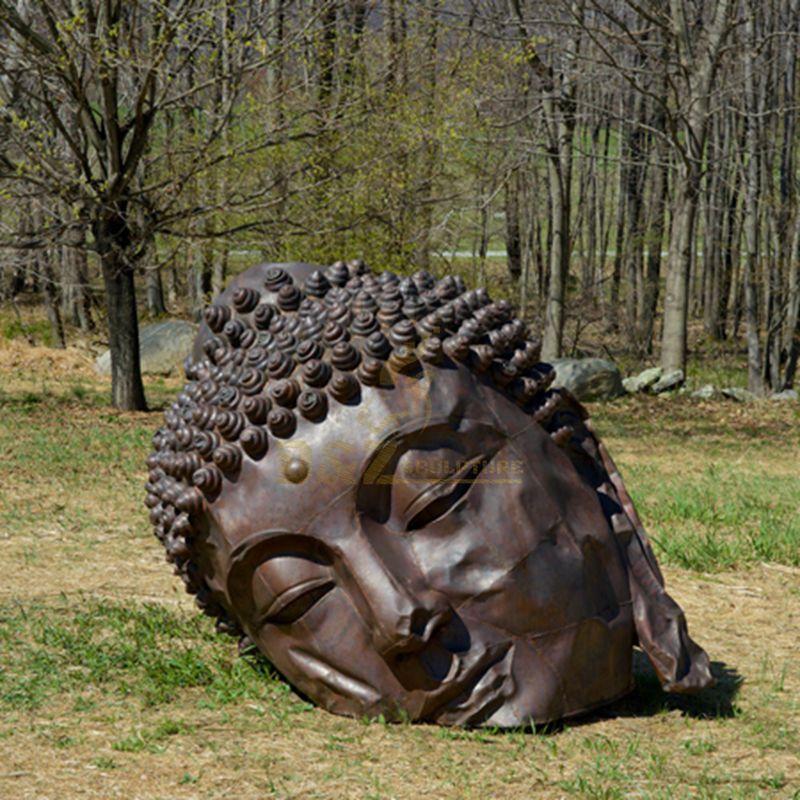 Handmade Big Garden Custom Brass Buddha Head