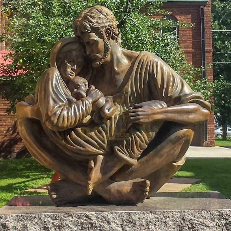 Garden Holy Family Mary Joseph and Jesus Bronze Statue Outdoor Decoration for Sale