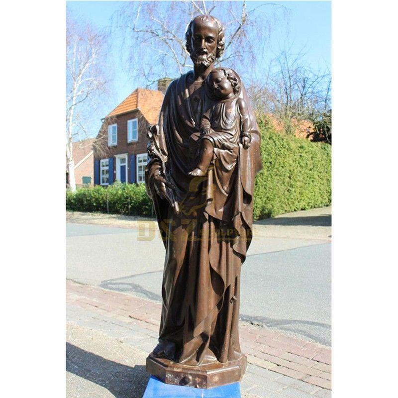 Outdoor street decoration bronze statues of Saint Joseph and Jesus
