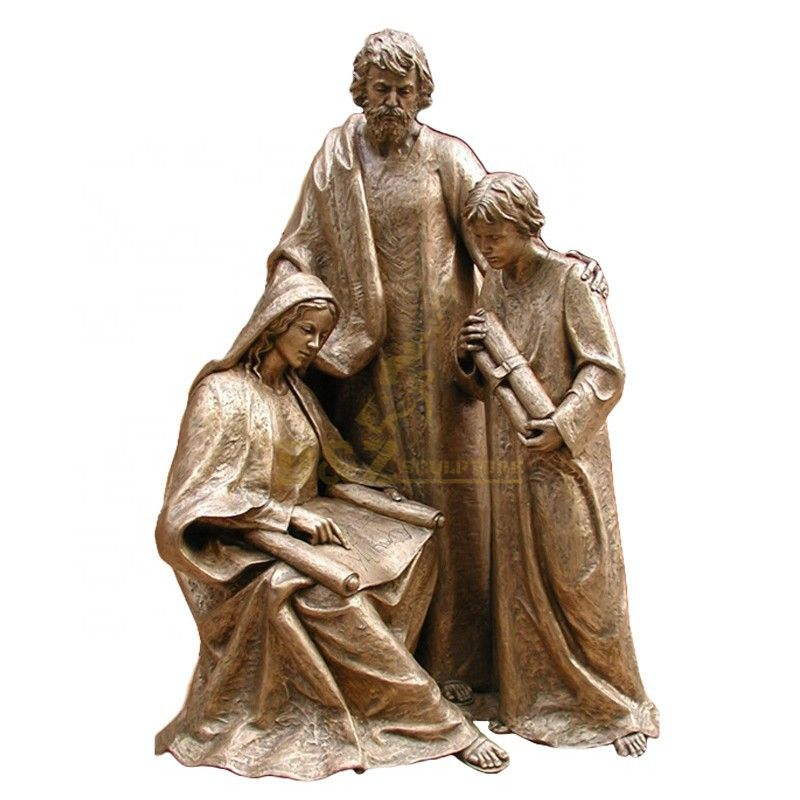 High quality religious decoration bronze Mary Saint Joseph and Jesus family statues for sale