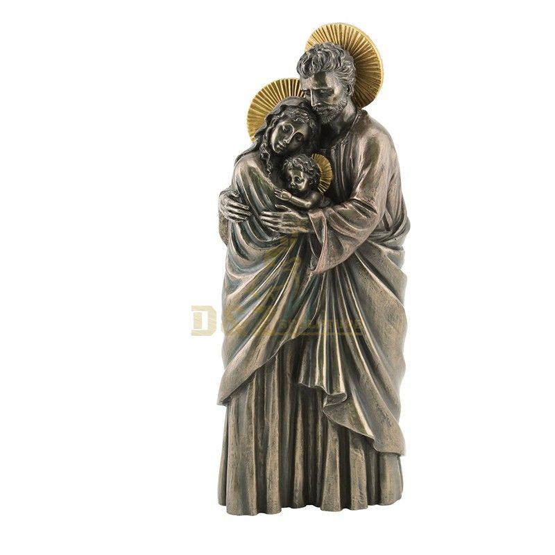 High quality metal decorated bronze Mary Saint Joseph and Jesus family statues for sale