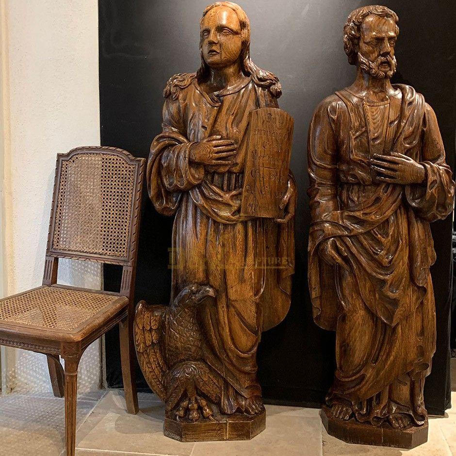 Upholstery brass statues of Saint Joseph and Saint John the Evangelist for sale