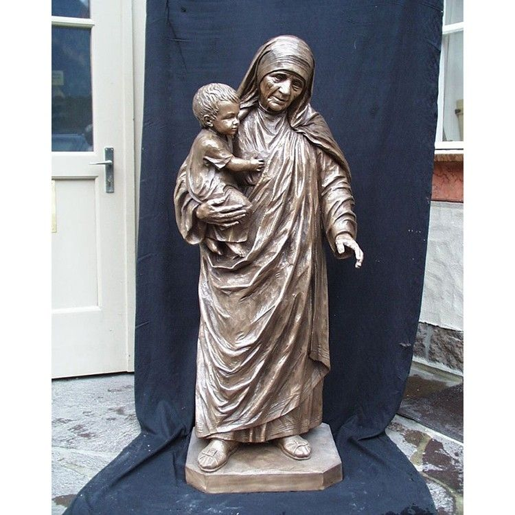 Life-size standing bronze Teresa mother sculpture