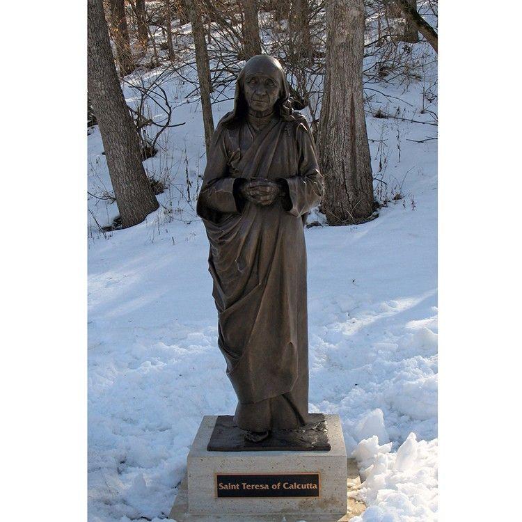 Garden standing bronze religious Teresa sculpture