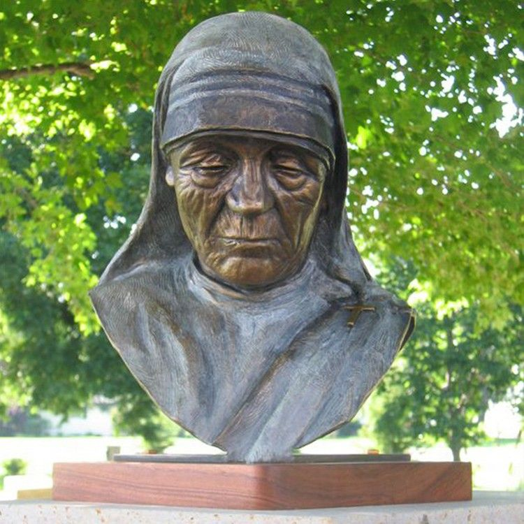 life size MOTHER TERESA bronze bust statue