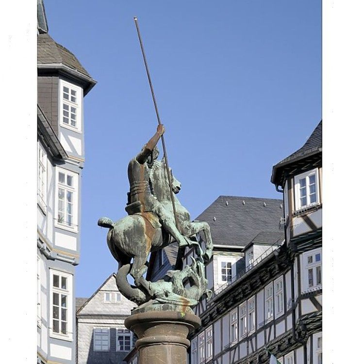 Outdoor life size bronze Saint George and Dragon sculpture