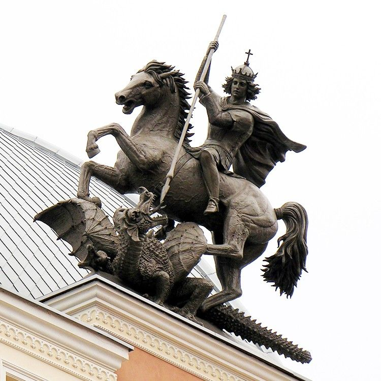 Bronze sculpture of Saint George slaying the dragon