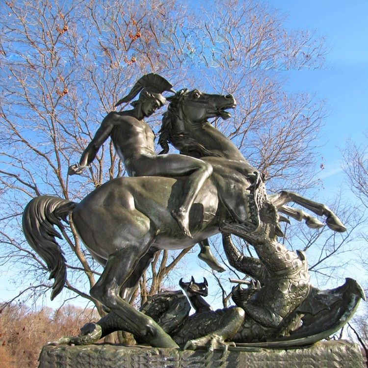 Bronze St. George sculpture on horseback in the city center