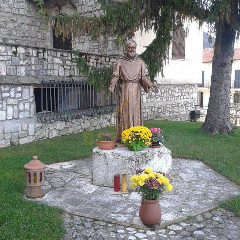 High quality life size brass Saint Padre Pio statue for sale