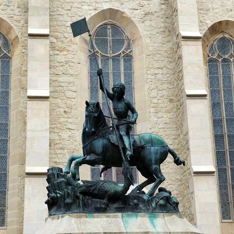 High quality religious sculpture bronze saint george statues
