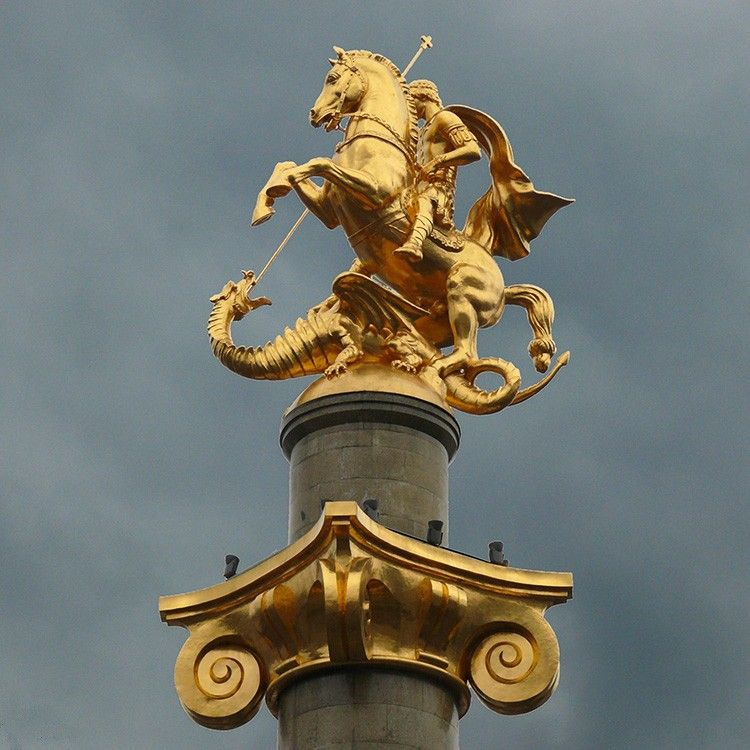 Outdoor large size saint George bronze statue