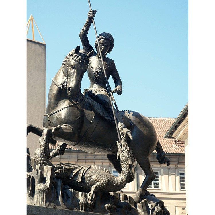 High Quality Metallic Bronze St. George Dragon Slayer Statue