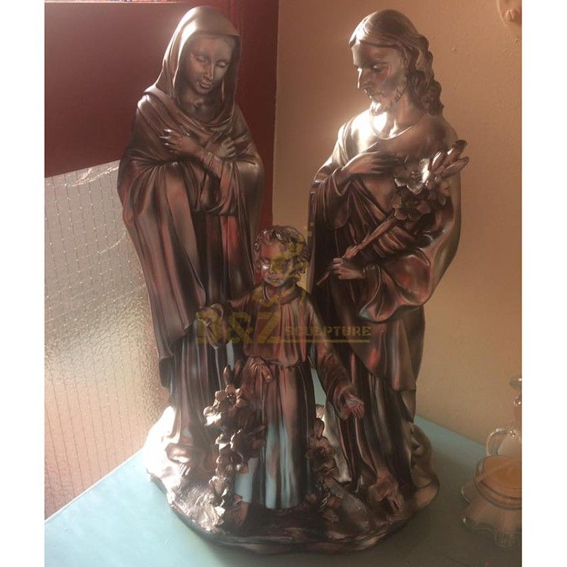 Customized life-size metal cast brass holy family statue