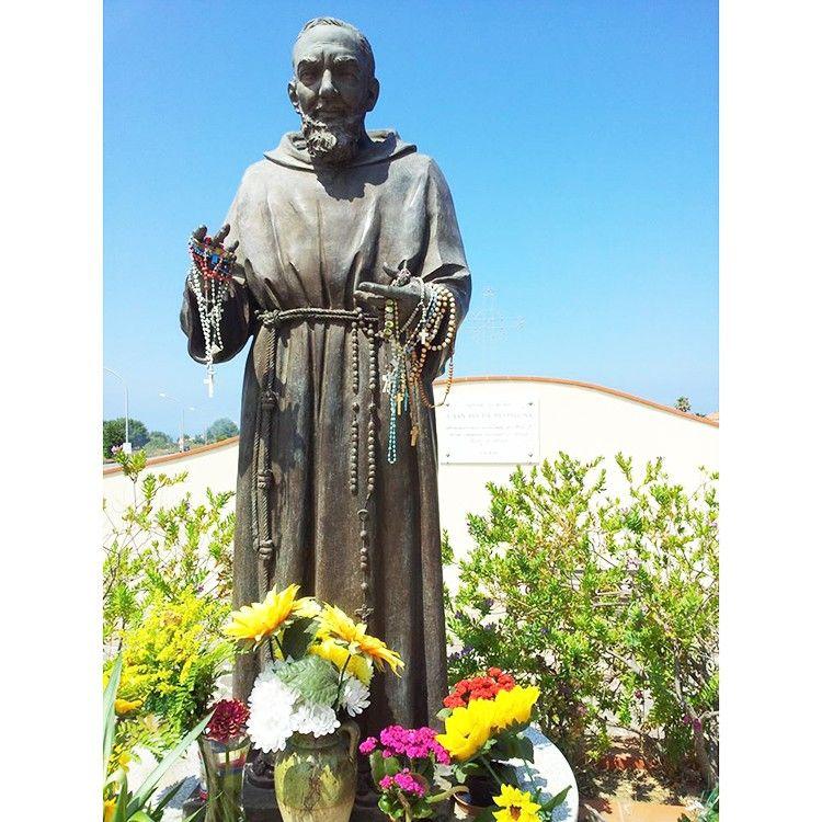 Life size religious figure sculpture standing saint Padre Pio statue