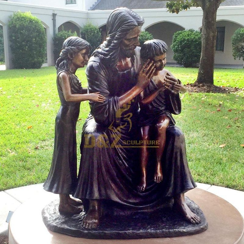 Handcarved Religious Church Cast Bronze Holy Family Statue