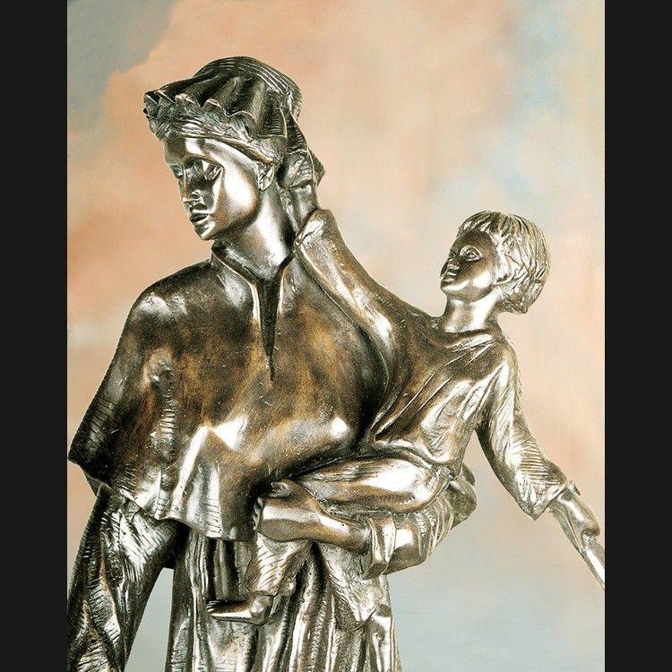 Bronze Saint Elizabeth Ann Seton With Child Statue