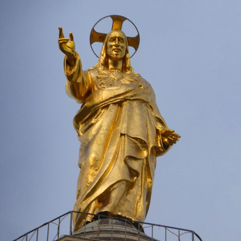 Customized large golden brass Jesus Christ religious decoration sculpture
