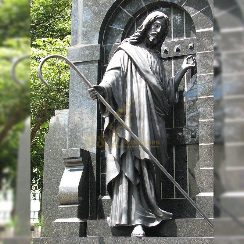 Outdoor garden decoration standing bronze good shepherd jesus sculpture for sale