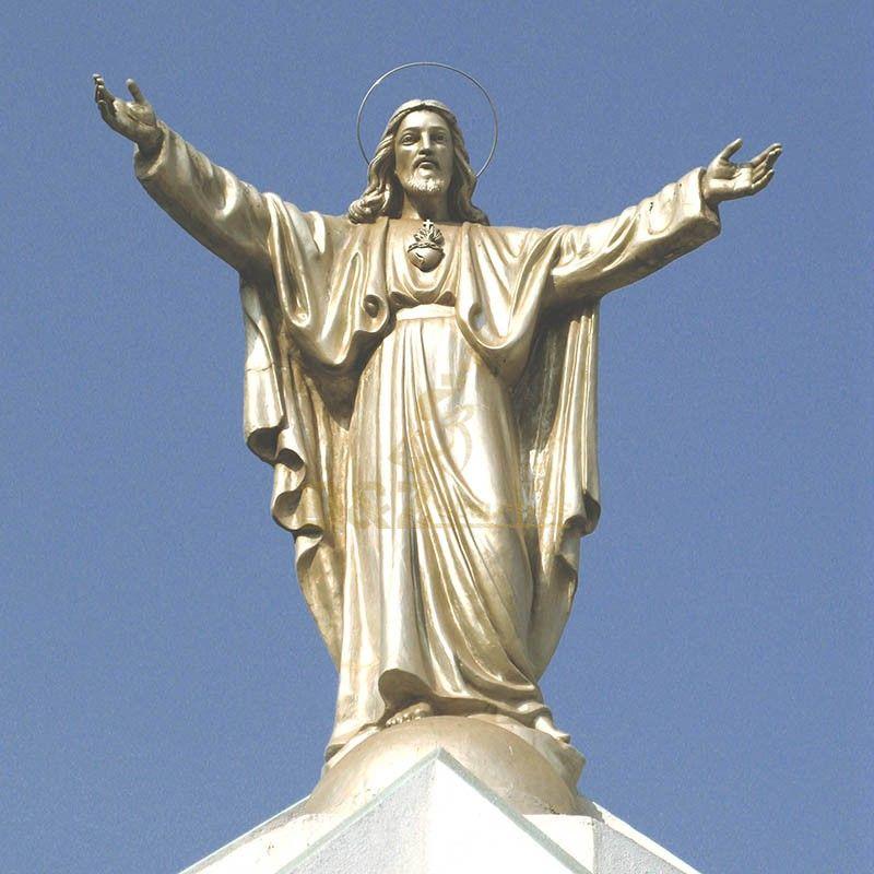 Metal Bronze Blessing Sacred Heart of Jesus Christ Italian Statue for sale
