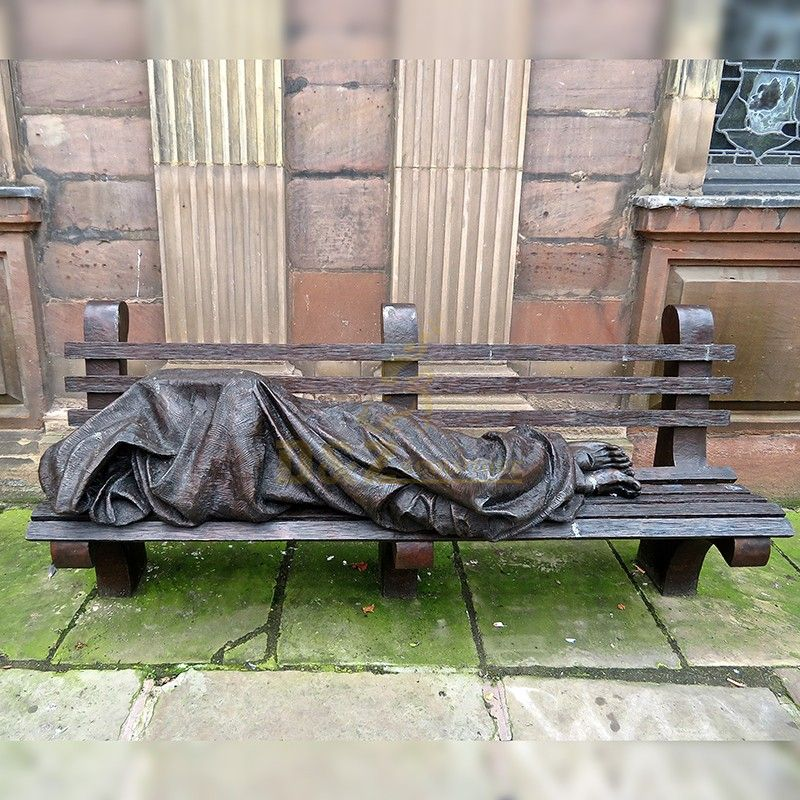 Famous Religious Bronze Sculpture of Homeless Jesus On Bench for Outdoor Decoration