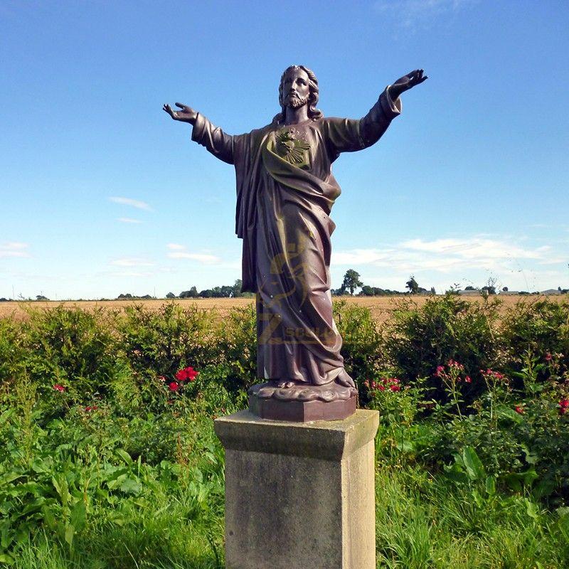 Garden Decoration Vintage Metal Life Size Bronze Jesus Christ Blessing Statue