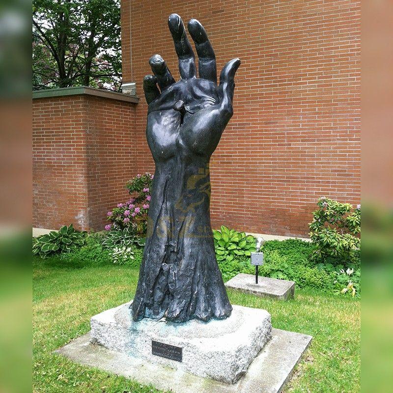 large Decoration  Antique Bronze Effect hand Decor bronze jesus Hand Sculpture on Base