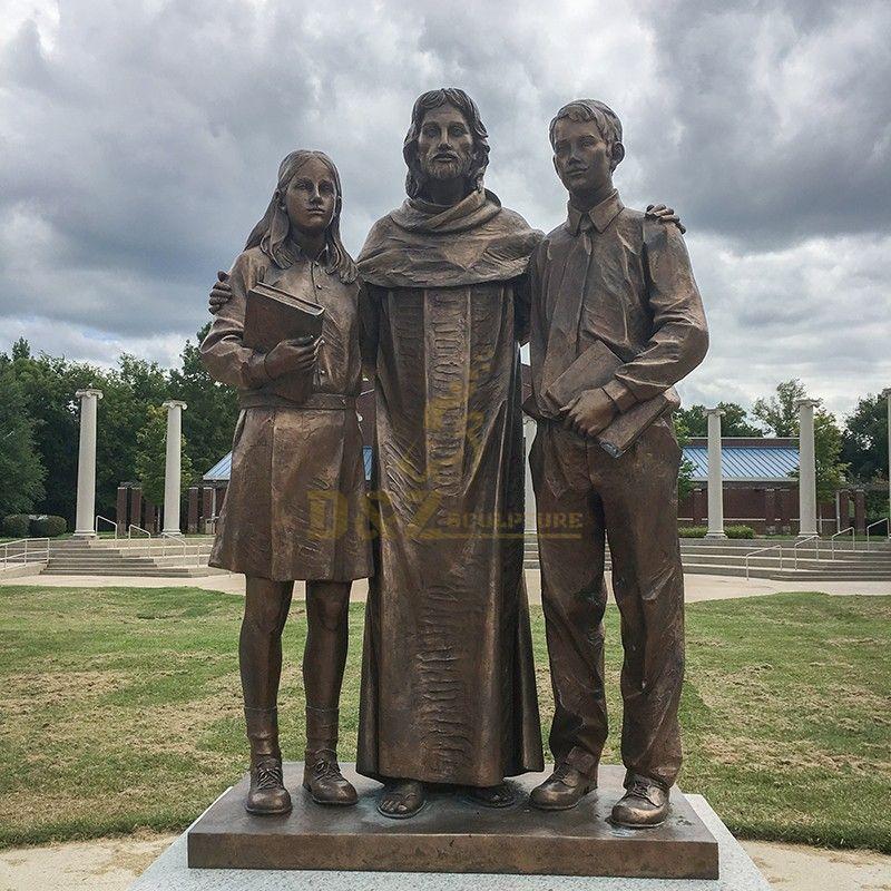 jesus and children square sculpture