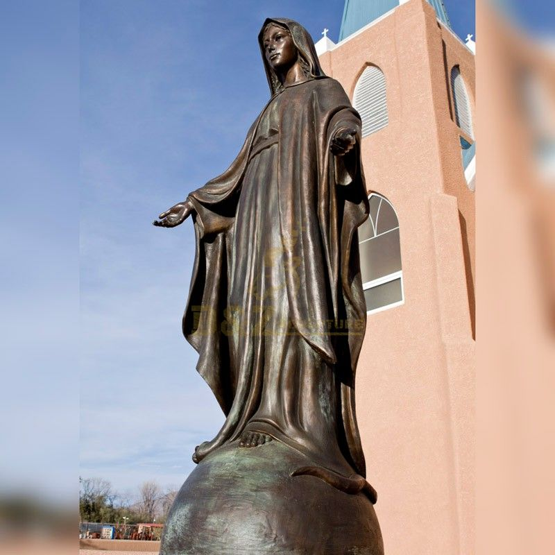 Church decoration metal casting life-size bronze statue of Virgin Mary