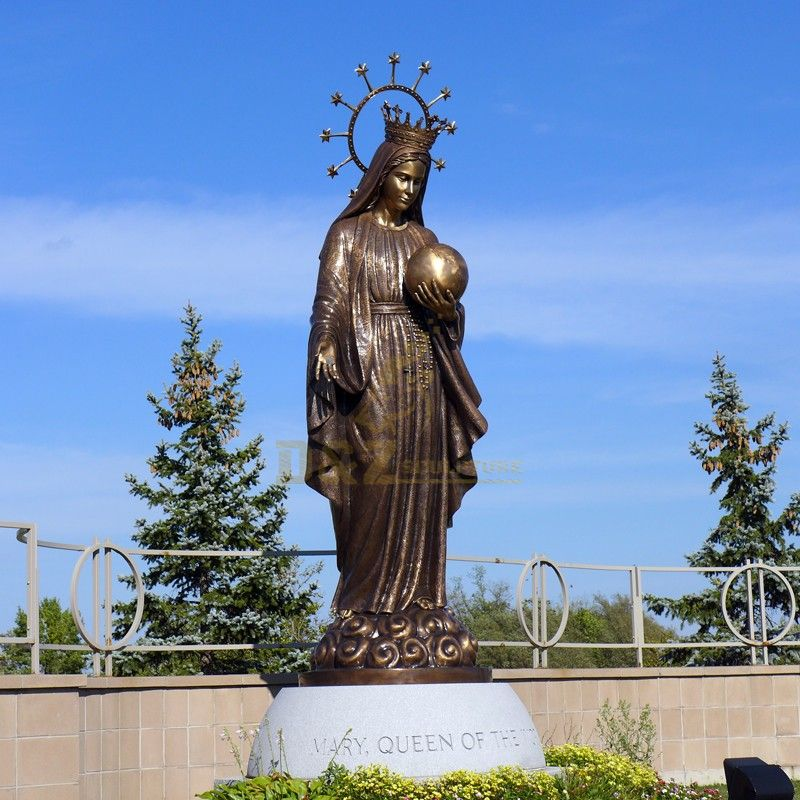 The famous virgin Mary statue bronze casting holding a globe outdoor decoration