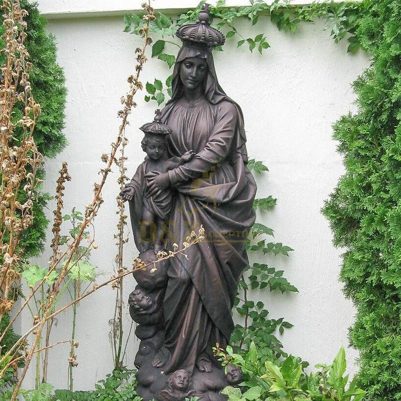 Garden decoration bronze Virgin Mary and Jesus Christ statues for sale