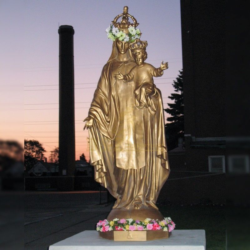 Metal Material Sculpture Bronze Virgin Mary Statues And Baby Jesus Statue