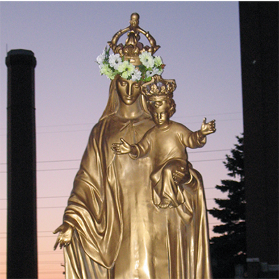 metal mary sculpture