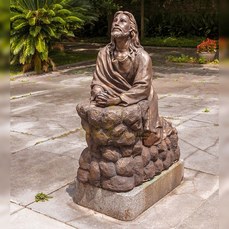 High quality outdoor religious art sculpture Jesus praying statue for sale