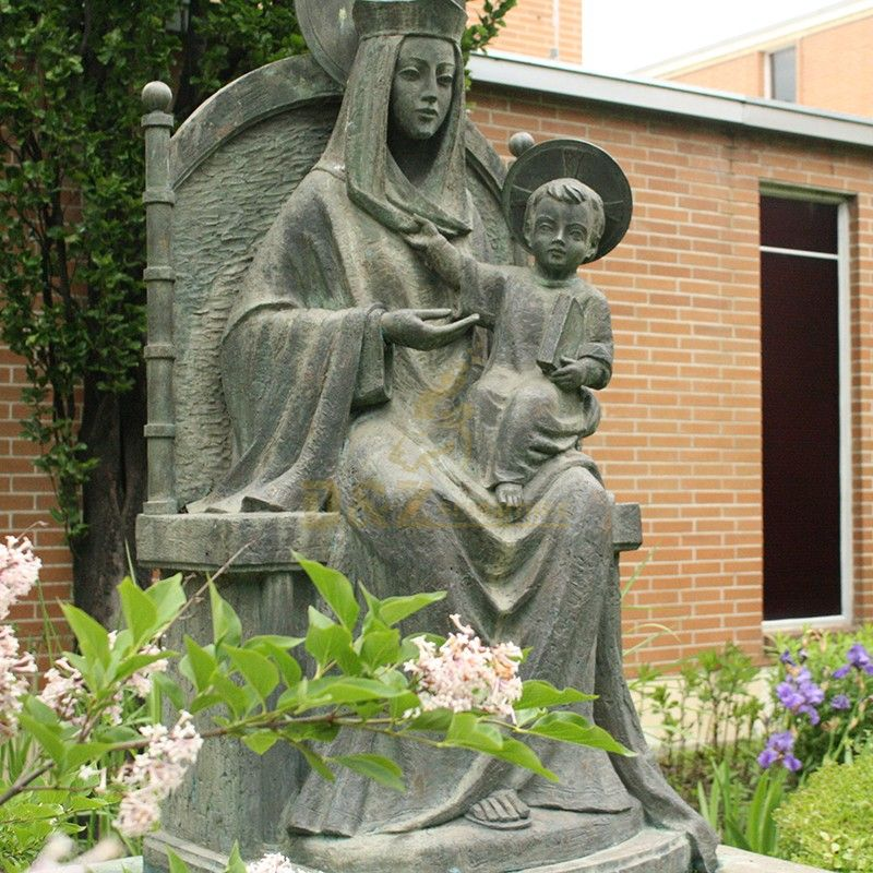 Hot sale metal casting religious sculpture outdoor Mary holding Jesus statue for sale