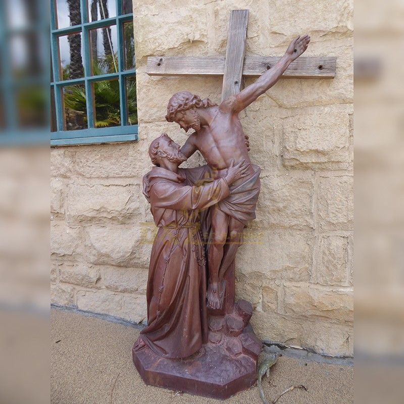 Catholic Christian religious decorations Joseph and Jesus on the cross statue for sale