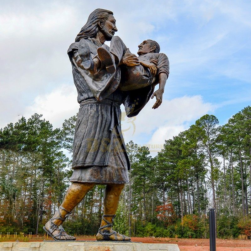 Famous Christian Catholic decorated large Jesus carrying a man statue for sale
