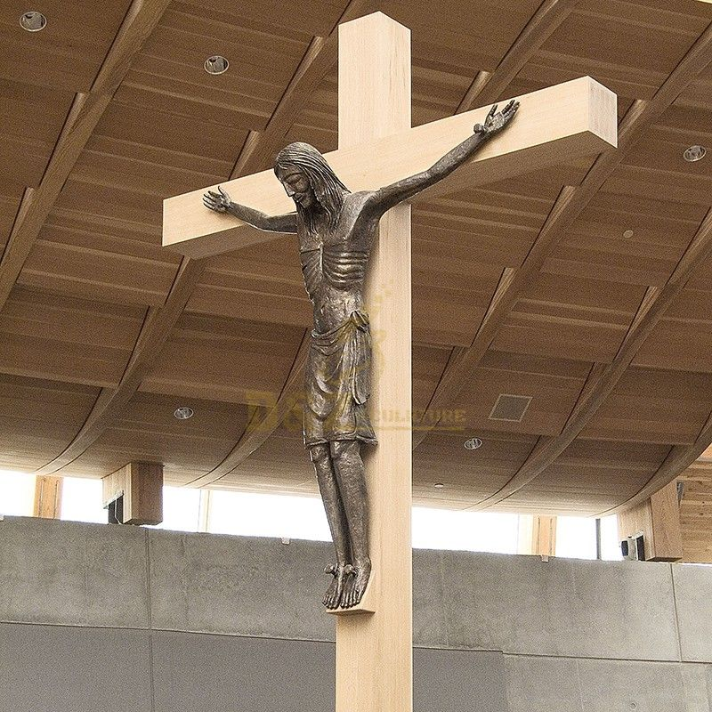 Exquisite outdoor life-size bronze Jesus on the cross statue for sale