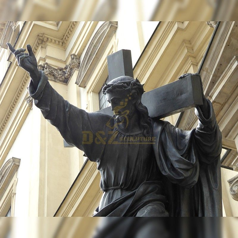 Customized life-size Catholic bronze Jesus Christ cross statue on sale