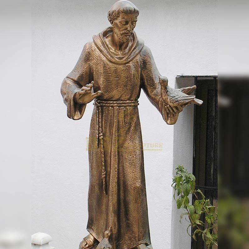 Customized Church Decorative Life Size Bronze St Francis Statue with bird